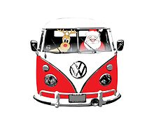 VW Camper Santa Father Christmas Red by splashgti