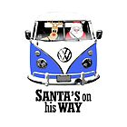 VW Camper Santa Father Christmas On Way Blue by splashgti