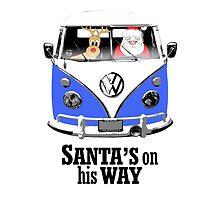 VW Camper Santa Father Christmas On Way Blue by splashgti