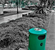 Green Trash Can  by Fike2308