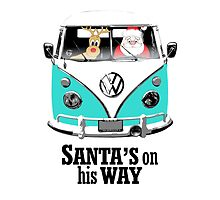 VW Camper Santa Father Christmas On Way Aqua by splashgti