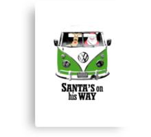 VW Camper Santa Father Christmas On Way Dark Green Canvas Print