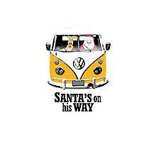VW Camper Santa Father Christmas On Way Orange Photographic Print