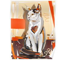 Cat big heart Poster