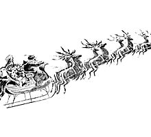 Reindeer Pulling Santa's Sleigh. Old Fashioned Christmas Image. by digitaleclectic