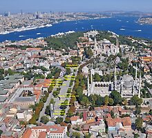 Aerial view of Istanbul: Sultanahmet with Hagia Sophia and Blue Mosque by Istanbul4You