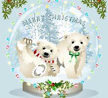 Snow globe bears by Dawn  Dudek