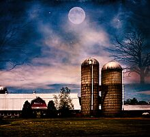 Haunting Moon Over the Barn by PineSinger
