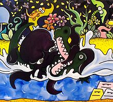 The Greedy Octopus vs The Crocodile by CRBArt