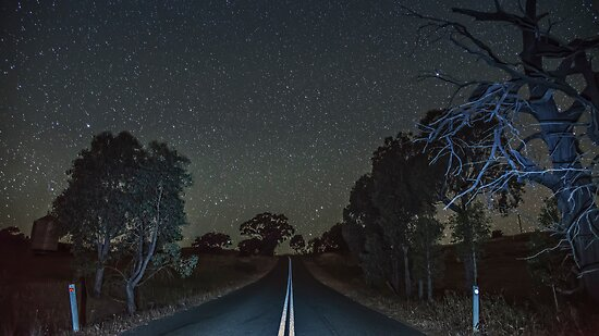 Down the Country Road at Night by bazcelt