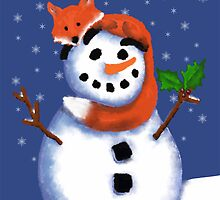 Fox and Snowman Happy Hollydays! by Cherie Balowski