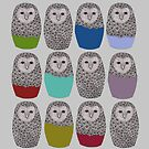 Bright Line Up of Owls by samclaire