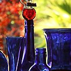 Blue Bottles in Autumn by Ellen Cotton