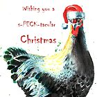 Chicken Christmas Card by Pachionart