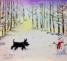 Scottie Dog & Snowman by archyscottie