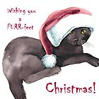 Kitten Christmas Card by Pachionart