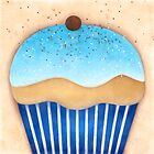 Blue Cupcake Pop Art by Catherina Amor