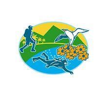 Scuba Diver Hiker Island Tropicbird Flowers Retro by patrimonio