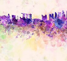 Singapore skyline in watercolor background by Pablo Romero