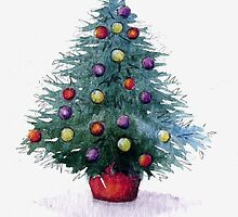 Christmas Tree with coloured baubles by Helen Lush