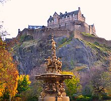 Edinburgh Castle & The Ross Fountain by Scotland2008