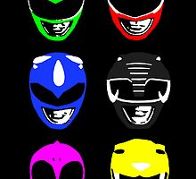 Power Ranger Helmets by justin13art
