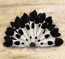 Yin Yang Magpie Feather Fan by © Karin  Taylor