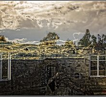 Window Reflection when Looking Inside the Burnt Out Mt Stromlo Observatory in Canberra by Wolf Sverak