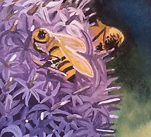 Honey Bees on a Globe Thistle by SoaringSpirit