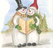 Snowmen singing Carols by Eva  Ason