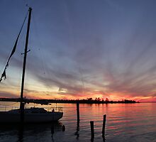 Sunset in Biloxi Ms by Rose Cavaco