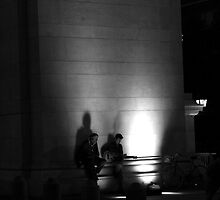 Music Under the Arch. B&W by Amanda Vontobel Photography