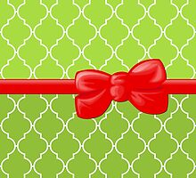 Ribbon and Bow, Moroccan Trellis Red White Green by sitnica