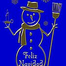Gold Snowman Spanish Merry Christmas Card Feliz Navidad by David Dehner