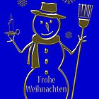Gold Snowman German Merry Christmas Card Frohe Weihnachten by David Dehner