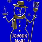 Gold Snowman French Merry Christmas Card Joyeux Noel by David Dehner