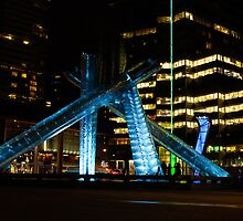 Vancouver - 2010 Olympic Cauldron Lit at Night by Georgia Mizuleva