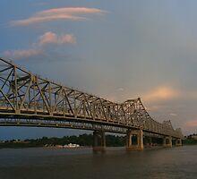 False sunset from Vidalia, Louisiana by ronburt