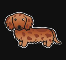 Red Dapple Long Coat Dachshund Cartoon Dog by destei
