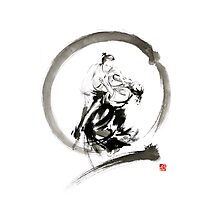 Aikido enso circle martial arts sumi-e samurai ink painting artwork Photographic Print
