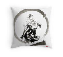 Aikido enso circle martial arts sumi-e samurai ink painting artwork Throw Pillow