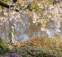 Cholmondeley Castle - Statue and Cherry Tree by Joe Wainwright