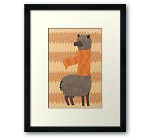Llama In A Scarf Keeping Warm Framed Print
