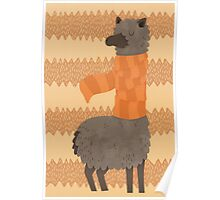 Llama In A Scarf Keeping Warm Poster
