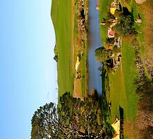 View from Bag End at Hobbiton - New Zealand by Nicola Barnard