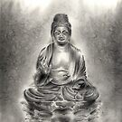Buddha buddhist sumi-e tibetan calligraphy 禅 original ink painting artwork by Mariusz Szmerdt