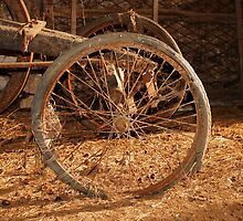 Wheel on Old Wooden Cart by jojobob