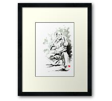 Karate martial arts kyokushinkai Masutatsu Oyama japanese kick japan ink sumi-e Framed Print