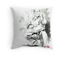 Karate martial arts kyokushinkai Masutatsu Oyama japanese kick japan ink sumi-e Throw Pillow