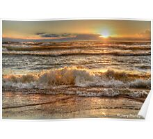 Rough Waters at Sunset Poster